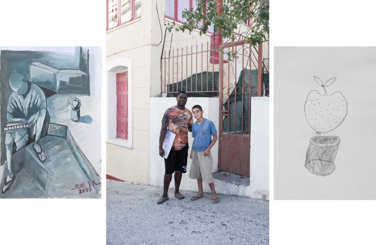 The Artist, Rene Jean - Yaounde/Samos 2017  Rene Jean and Haider, The Artists - Yaounde/Aleppo/Samos 2017  The Artist, Haider - Aleppo/Samos 2017